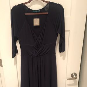 Anthropologie Navy cinch waist knit dress